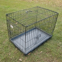 Large Black Two Door Collapsible Dog Cage