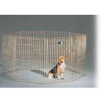 Essentials Pet Exercise Pen Gold Zinc Plated